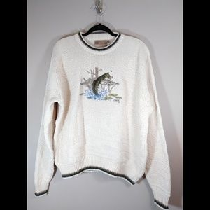 Vintage Shenandoah Sweater Fish Design size Large